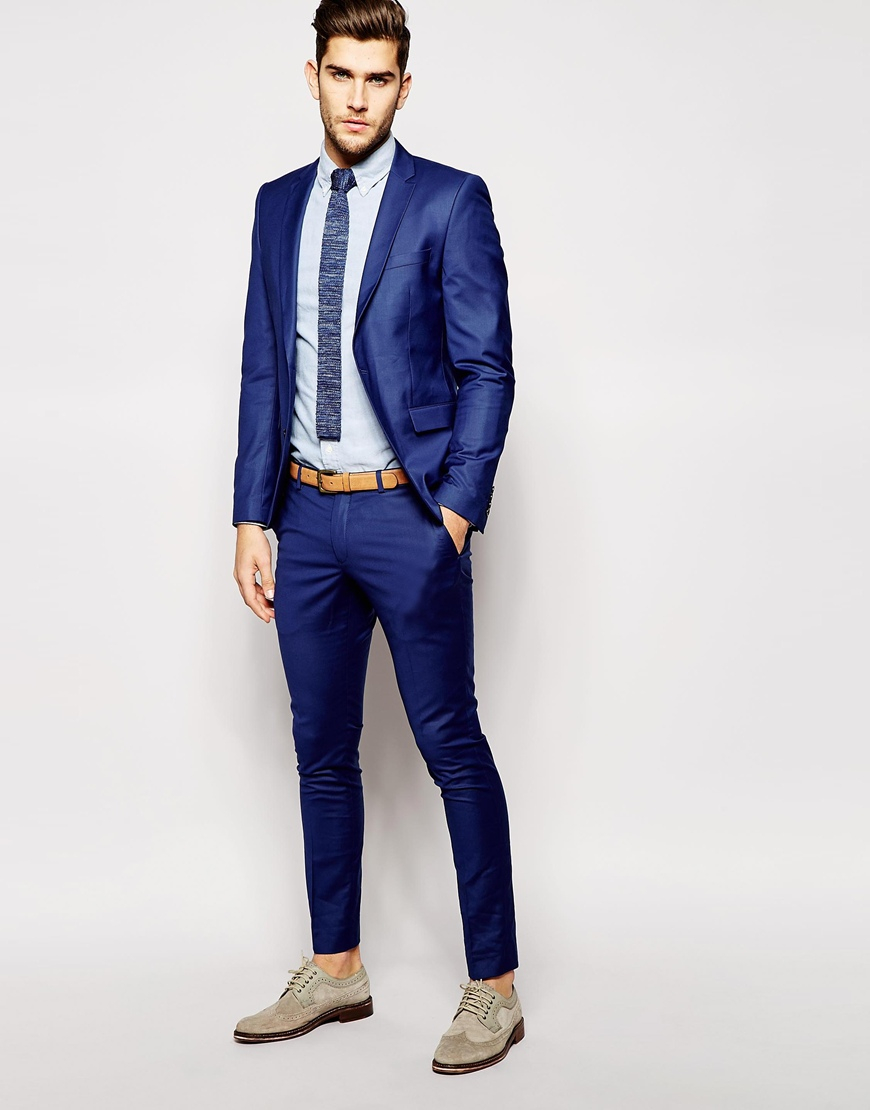 Selected Selected Suit Trousers In Skinny Fit in Blue for Men | Lyst