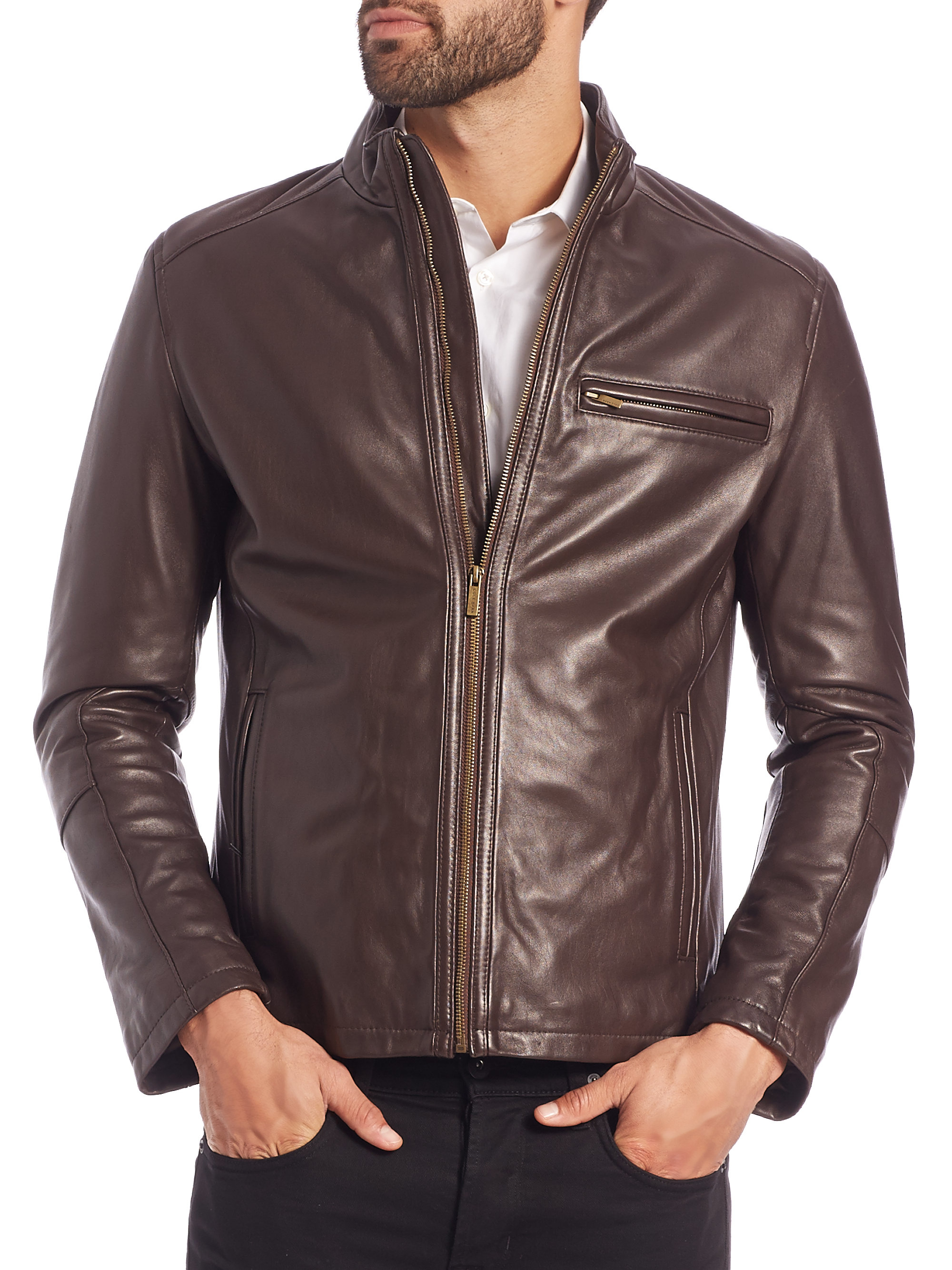 Cole Haan Leather Moto Jacket In Brown For Men Lyst