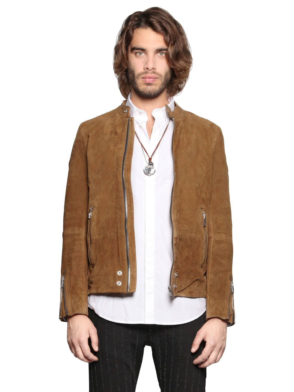 Diesel Suede Moto Jacket in Brown for Men | Lyst