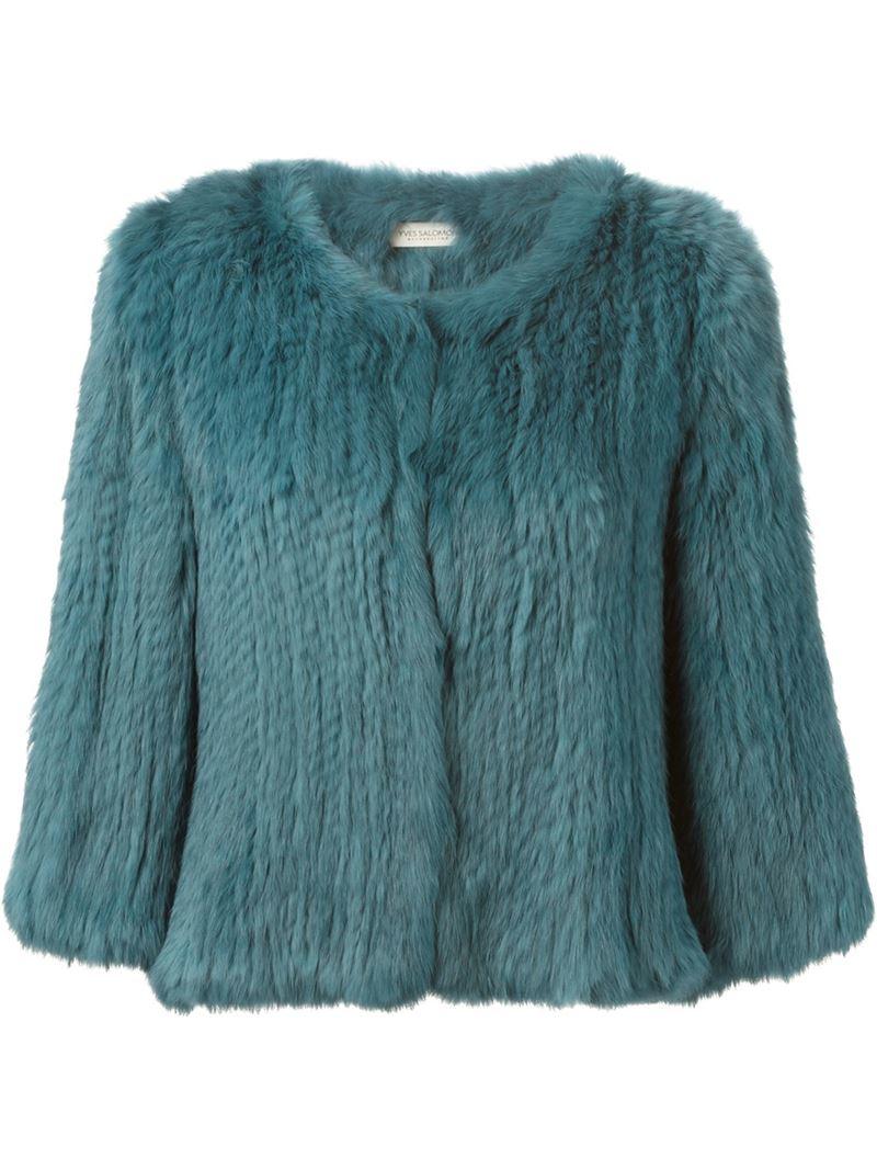 Yves Salomon Rabbit Fur Jacket In Blue Lyst