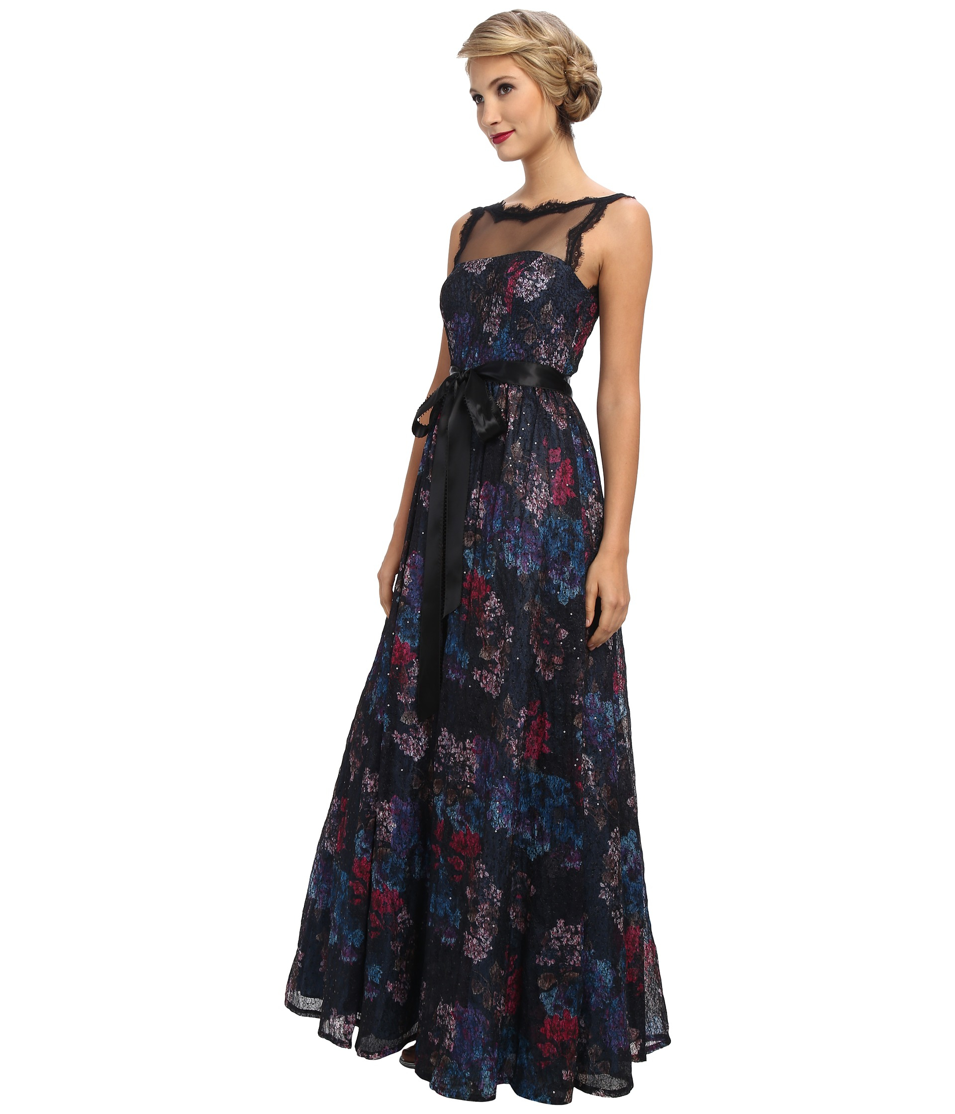 Lyst - Adrianna Papell Illusion Bodice Ball Gown in Blue