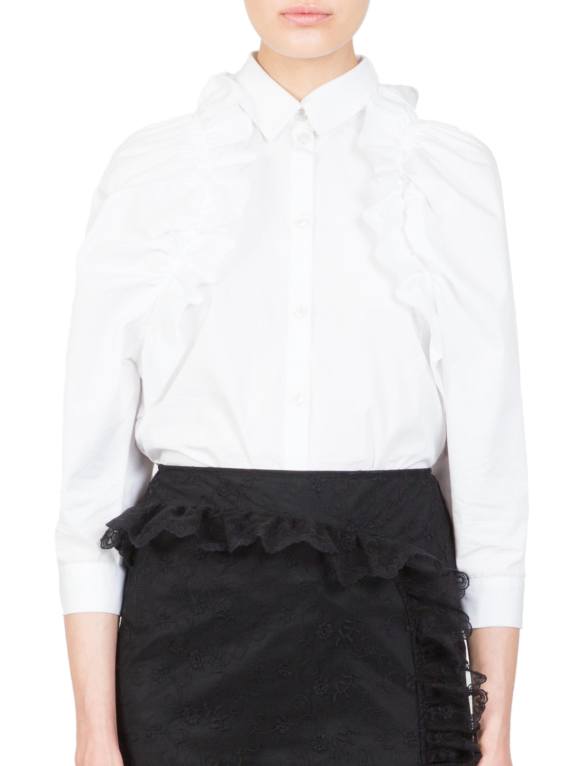 Lyst simone rocha ruffle trim cotton button front shirt for Cotton button up shirt