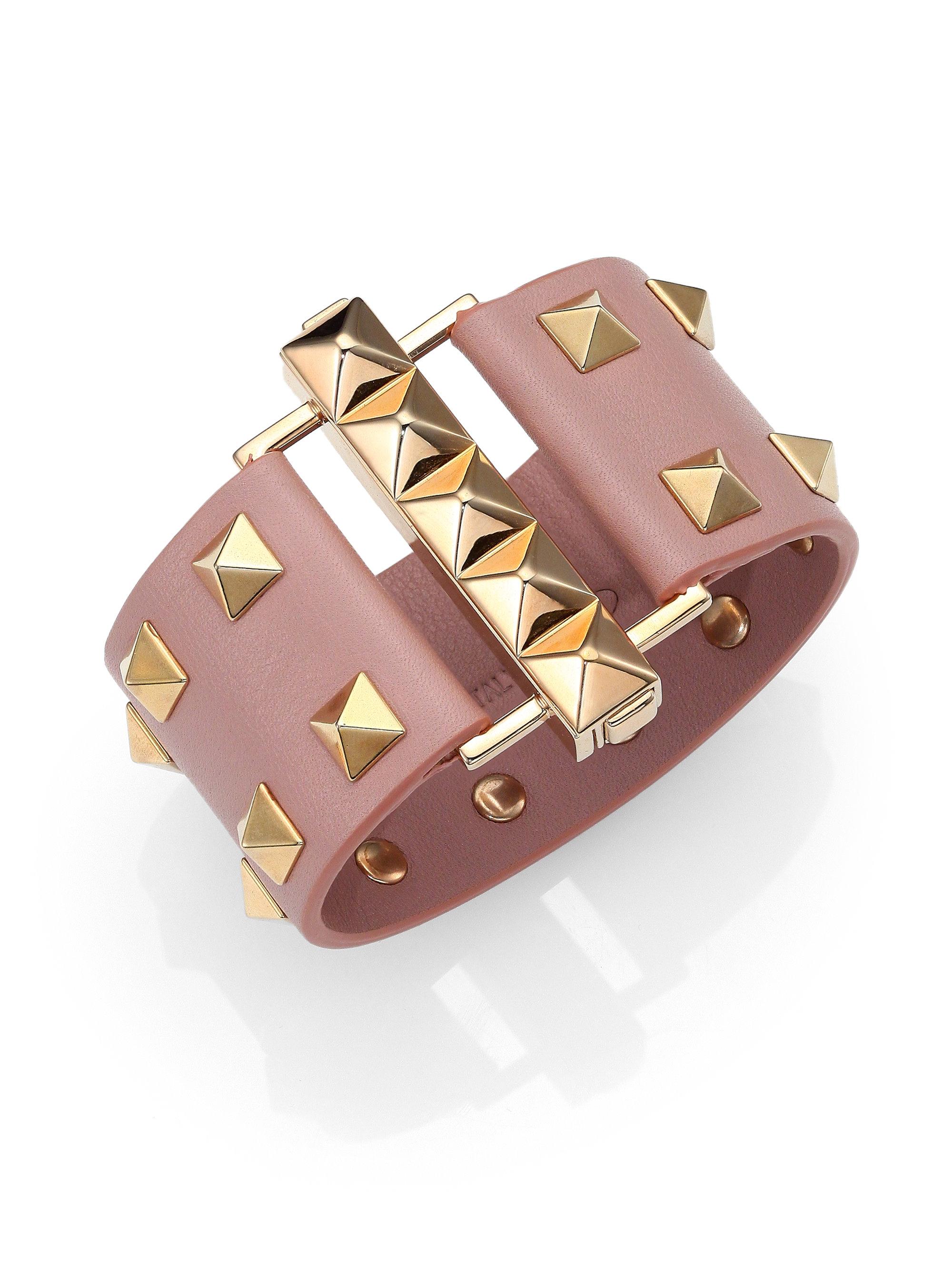 a451fbf4d Valentino Rockstud Wide Leather Cuff Bracelet in Pink - Lyst