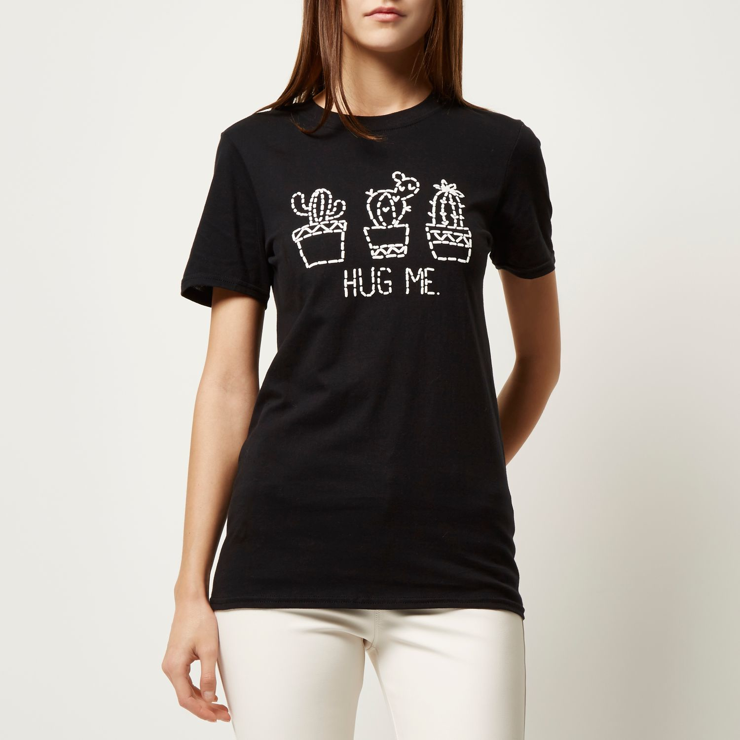 f327a9a276 River Island Black Cactus Print Oversized T-shirt in Black - Lyst
