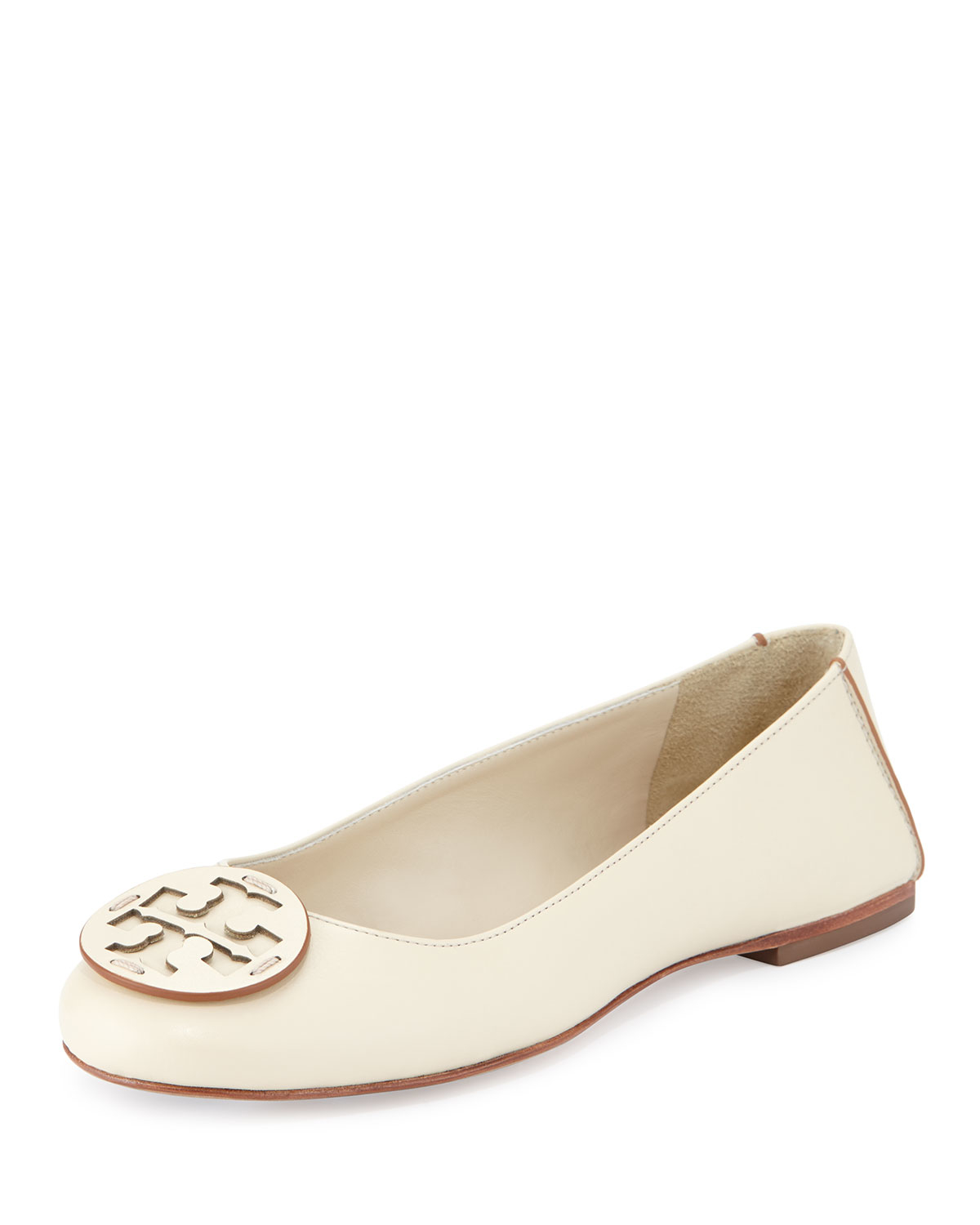 1c0dcae6091b Lyst - Tory Burch Reva Leather Ballet Flats in Natural