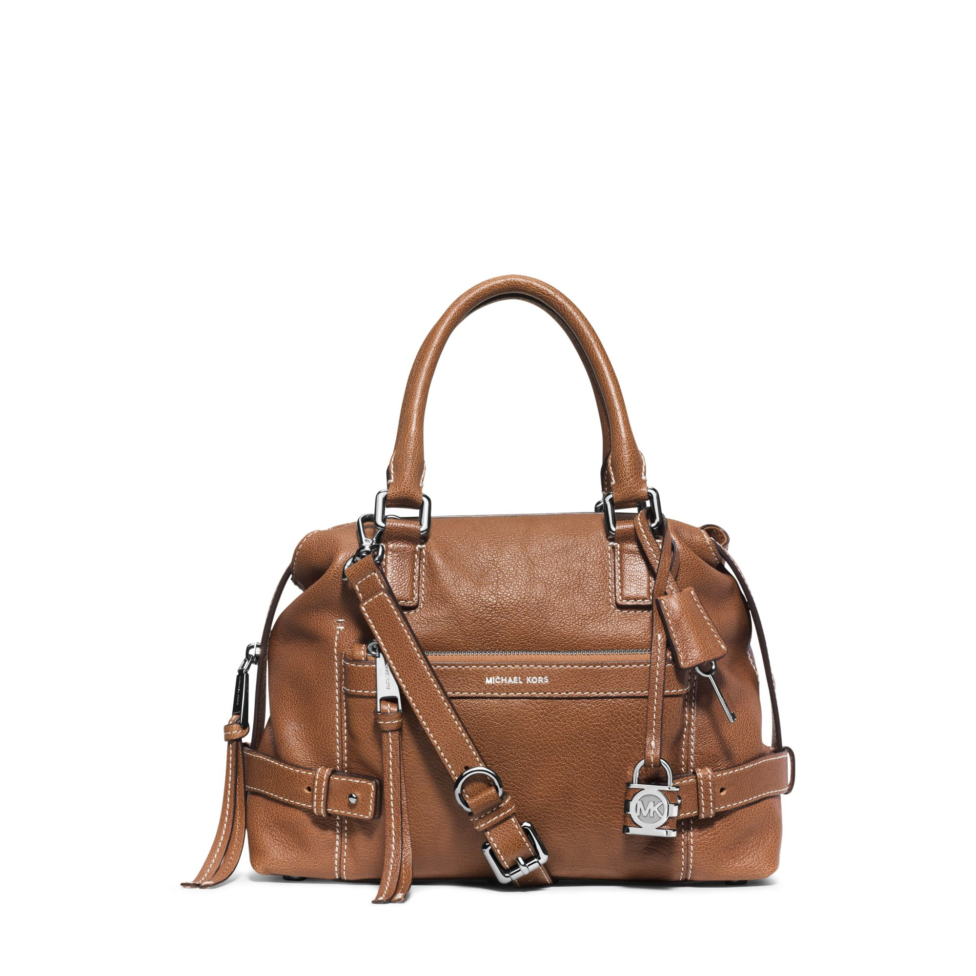 michael kors abby leather satchel in brown lyst. Black Bedroom Furniture Sets. Home Design Ideas
