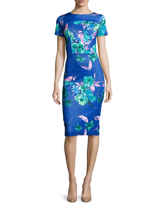 79c4b3bd815 Lyst - Neiman Marcus Floral Short-sleeve Sheath Dress in Blue