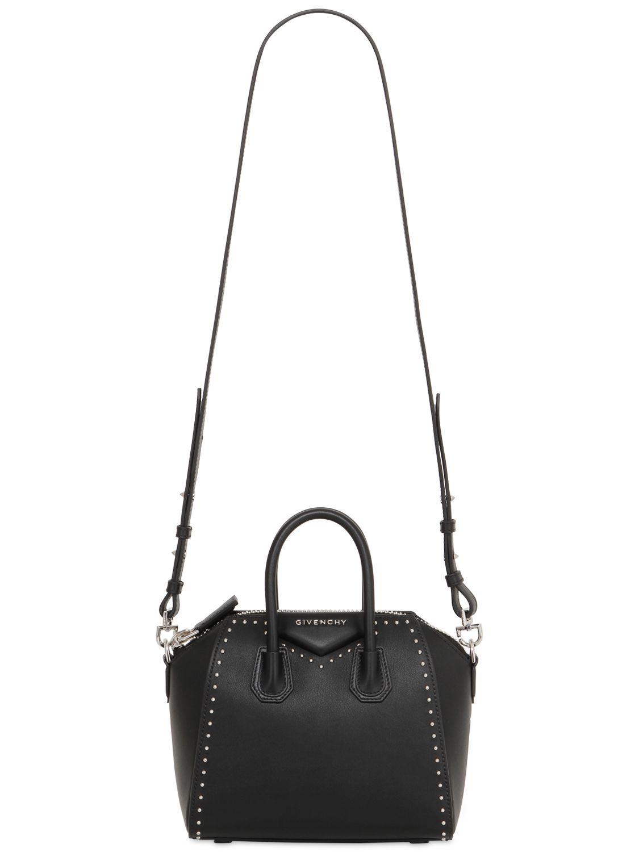 57767e436fe Lyst - Givenchy Mini Antigona Studded Leather Bag in Black