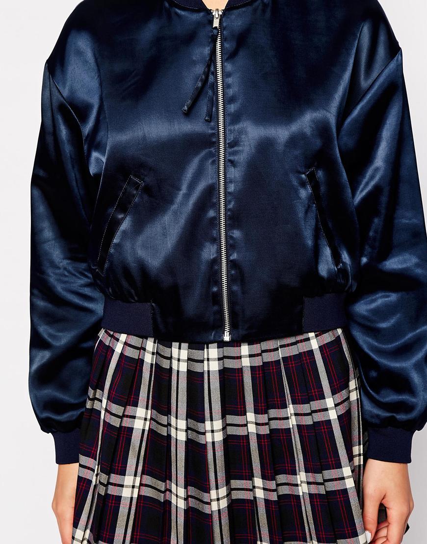 Monki Satin Bomber Jacket in Blue | Lyst