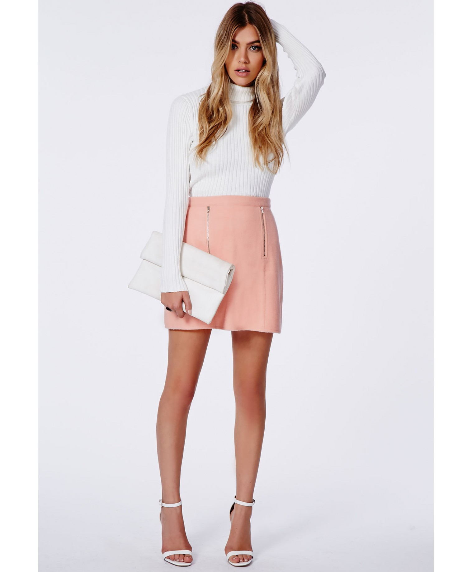 Missguided Beth Felt Zip Front A-Line Skirt Baby Pink in Pink | Lyst