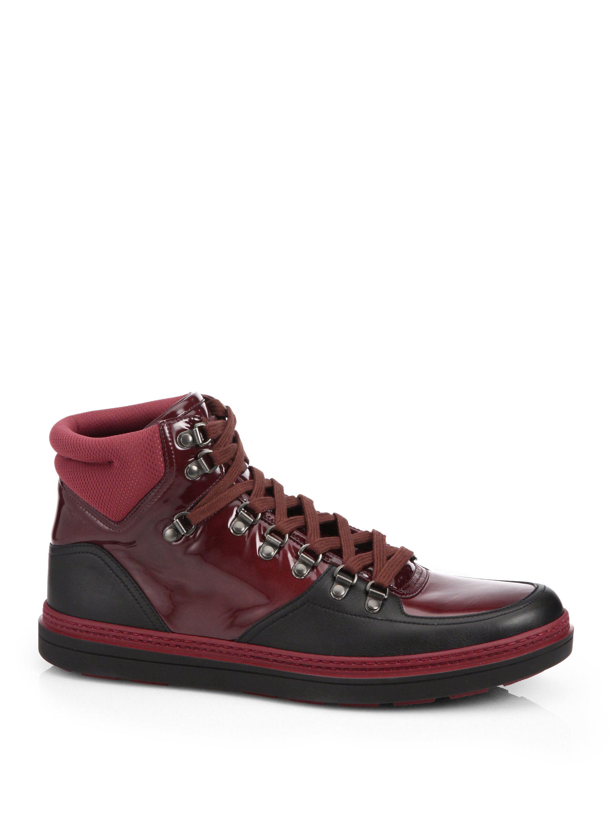 Lyst Gucci Contrast Combo High Top Sneakers In Black For Men