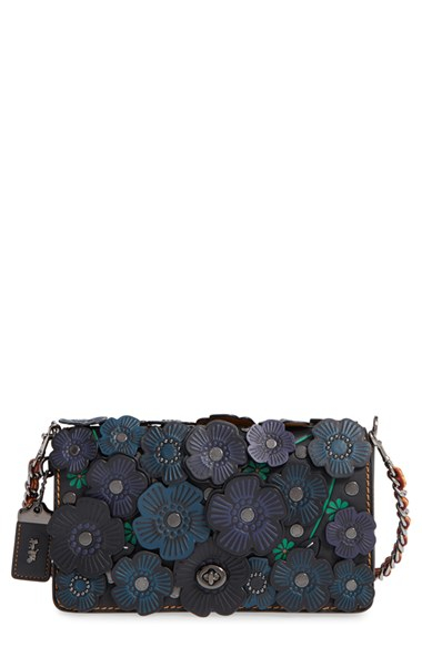 Lyst - Coach 1941 Dinky Flower Applique Leather Saddle Bag In Black