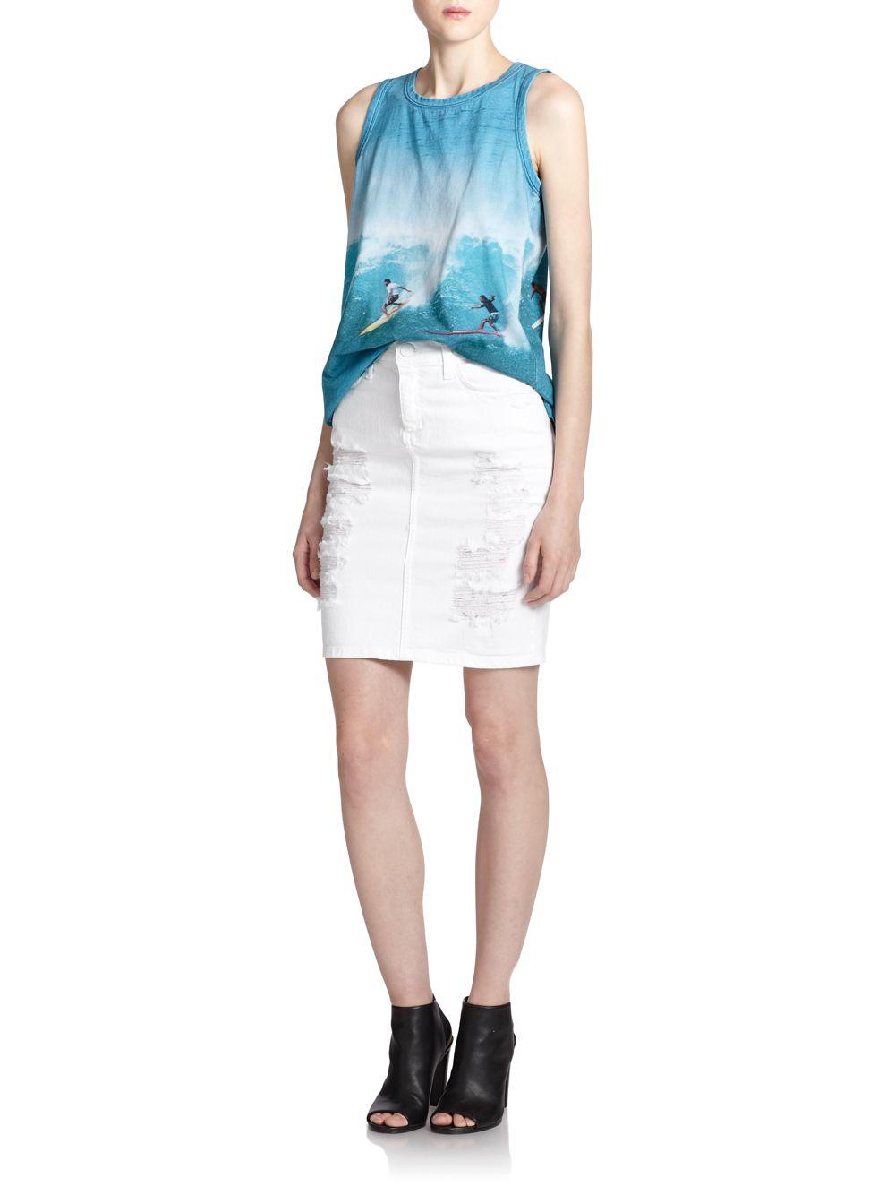 current elliott distressed denim pencil skirt in white lyst