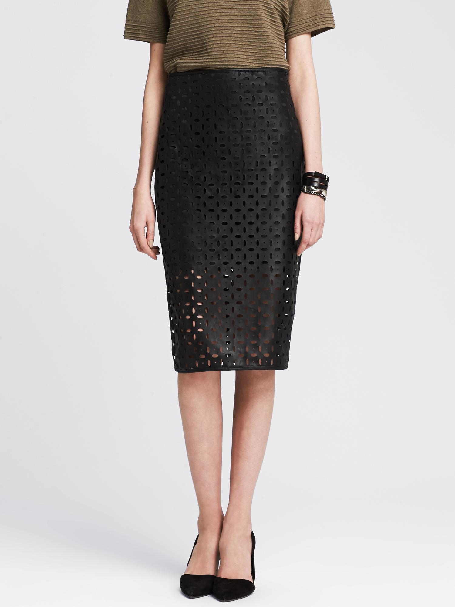 banana republic perforated faux leather pencil skirt in