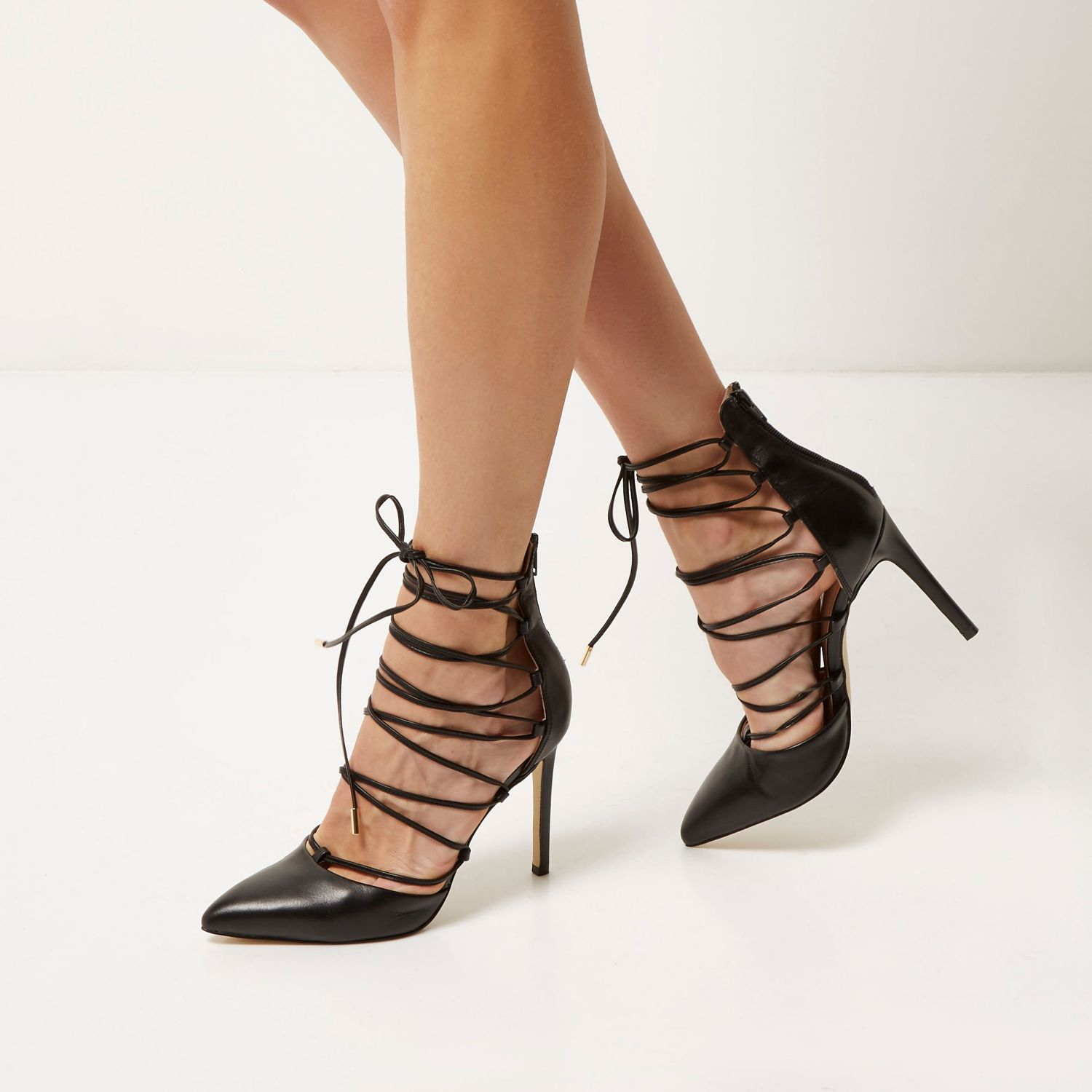 River Island Black Leather Lace Up