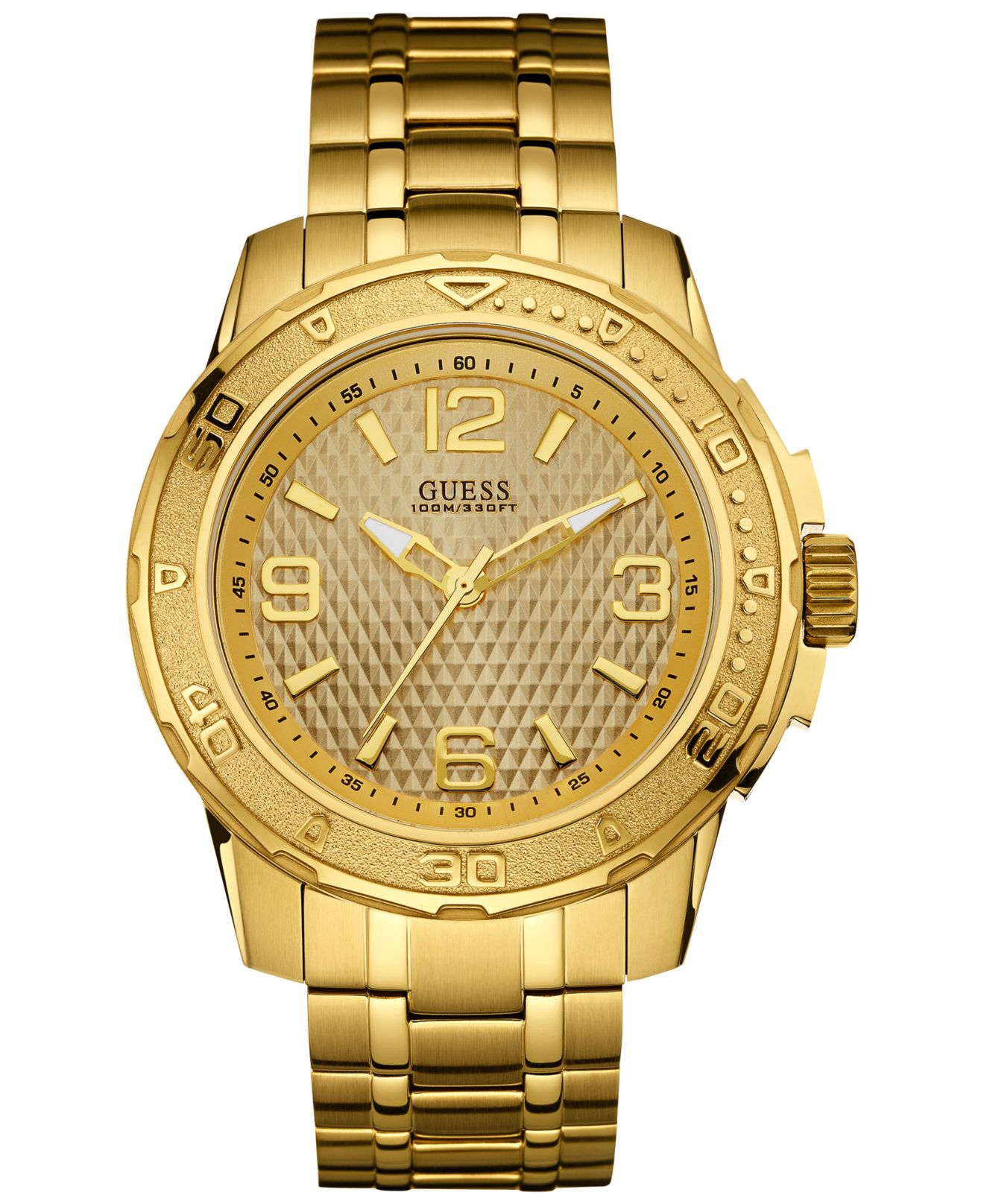 guess s gold tone stainless steel bracelet 46mm