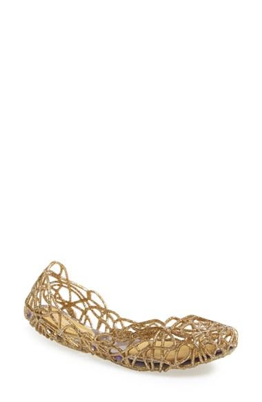 Melissa 'Campana Sapatilha' Jelly Flat in Gold | Lyst