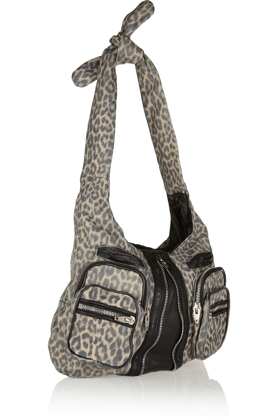 5a760403753d Lyst - Alexander Wang Donna Leopardprint Leather Shoulder Bag in Gray