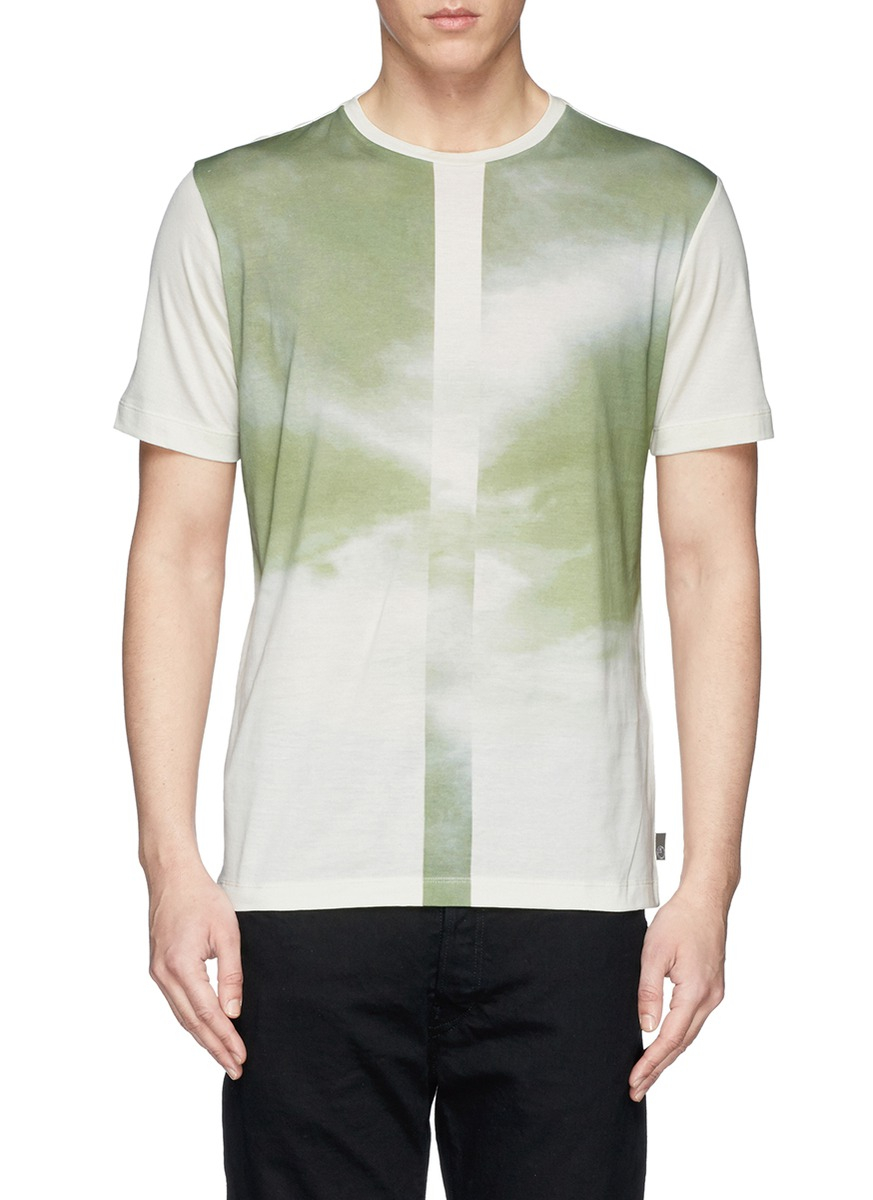 Lyst armani centre stripe faded sky print t shirt in for Faded color t shirts