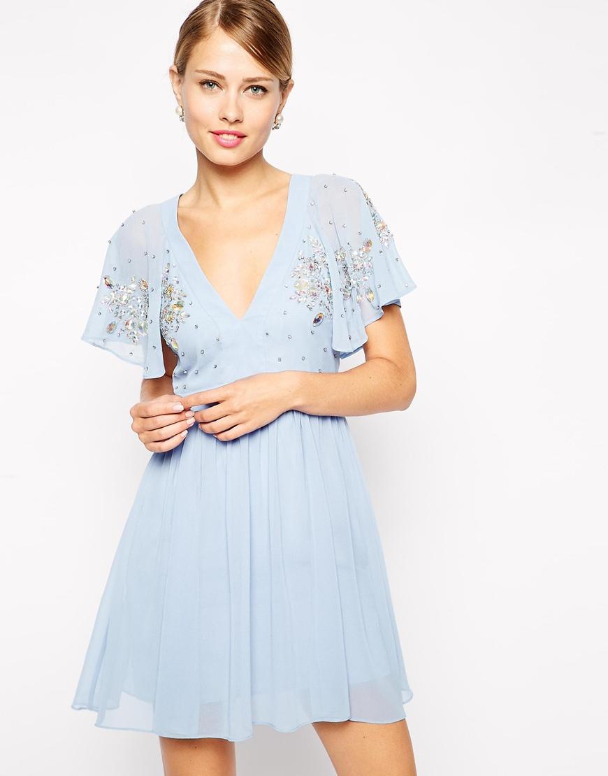 Asos Embellished Flutter Sleeve Skater Dress in Blue | Lyst