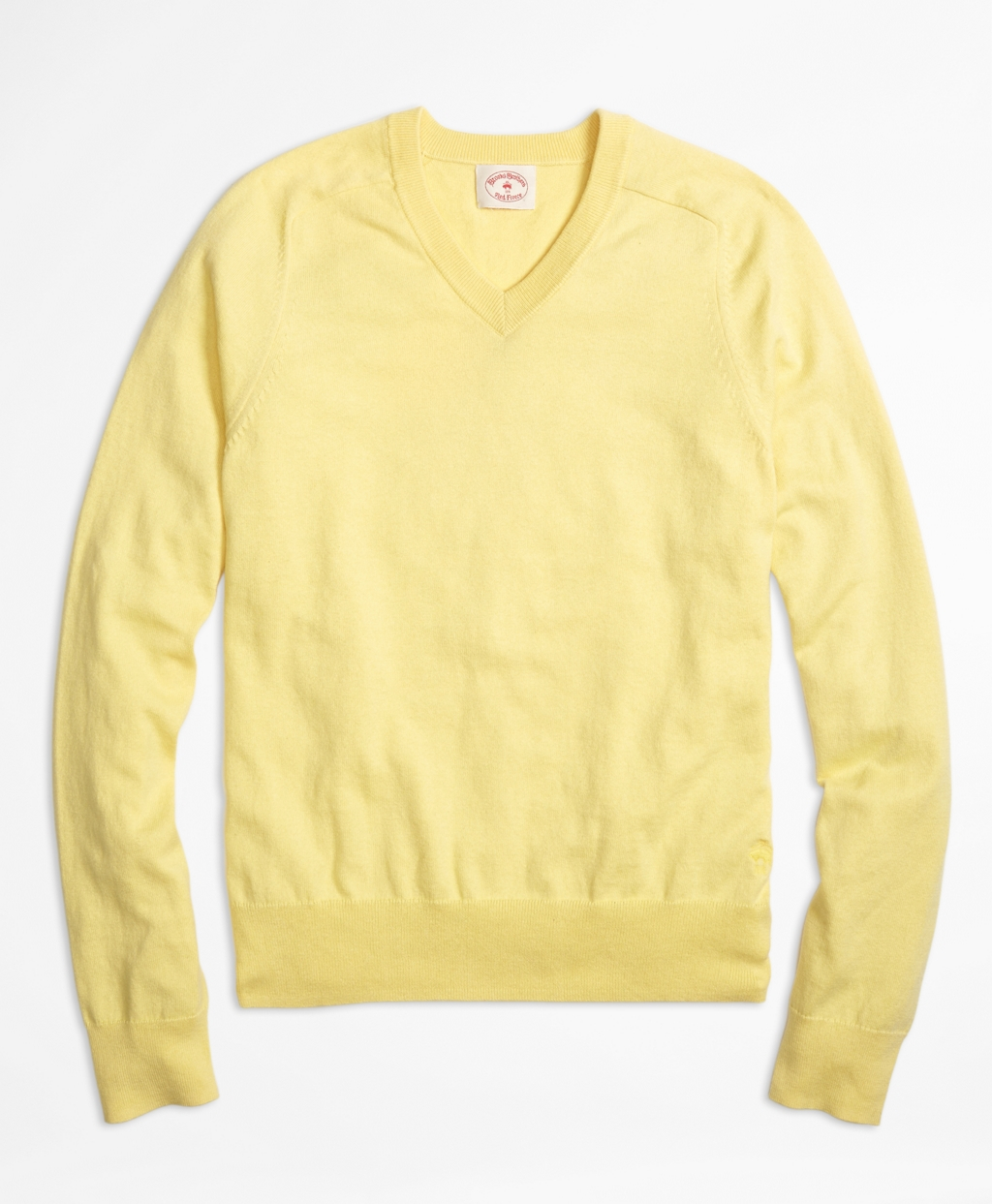 Brooks brothers Cotton Cashmere V-neck Sweater in Yellow for Men ...