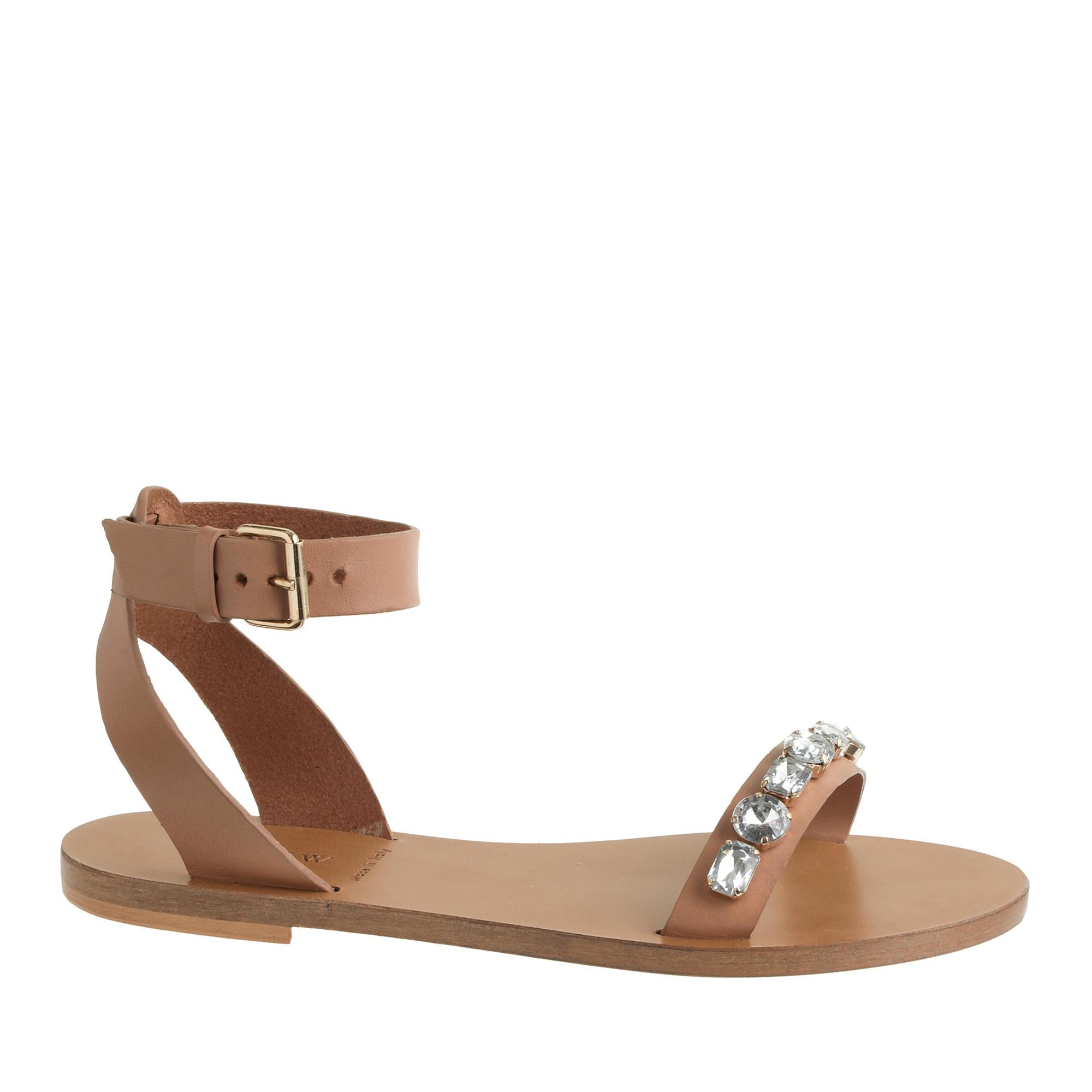 J.crew Jeweled Flat Sandals In Natural | Lyst