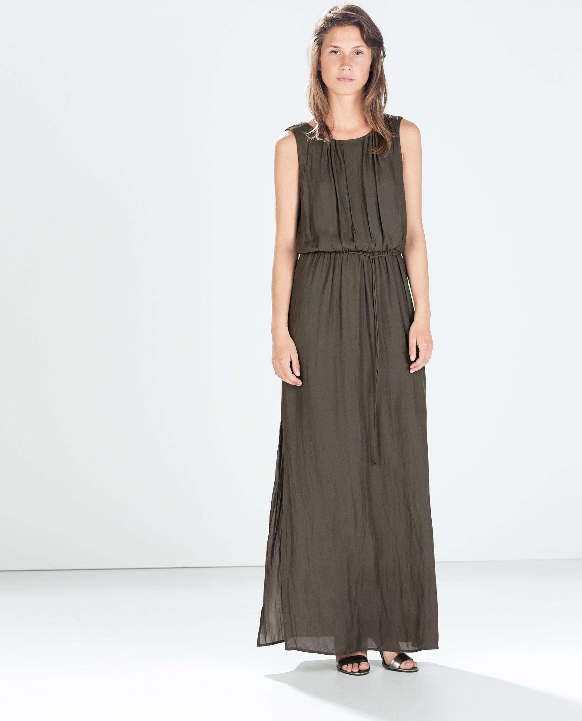 Zara Pleated Low-Cut Maxi Dress in Green | Lyst