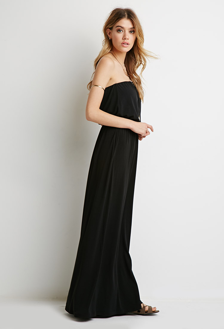 Forever 21 Strapless Maxi Dress in Black | Lyst