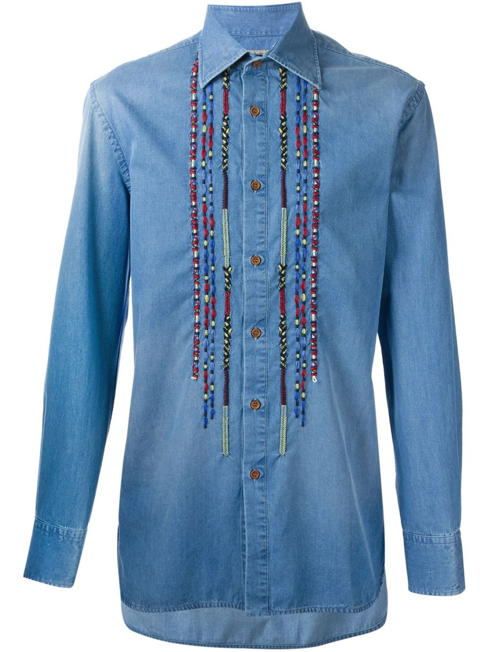 Lyst ermanno scervino embroidery detail denim shirt in