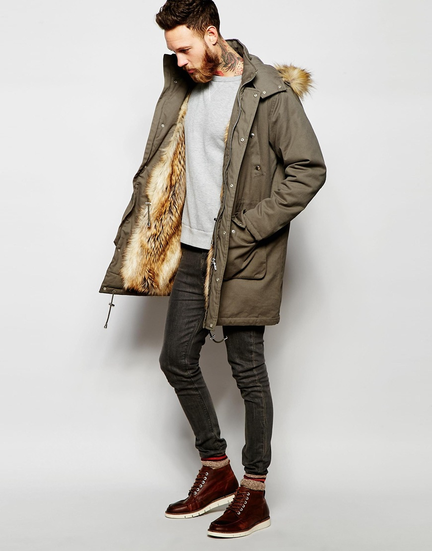 Asos Faux Fur Lined Parka Jacket In Khaki in Green for Men | Lyst