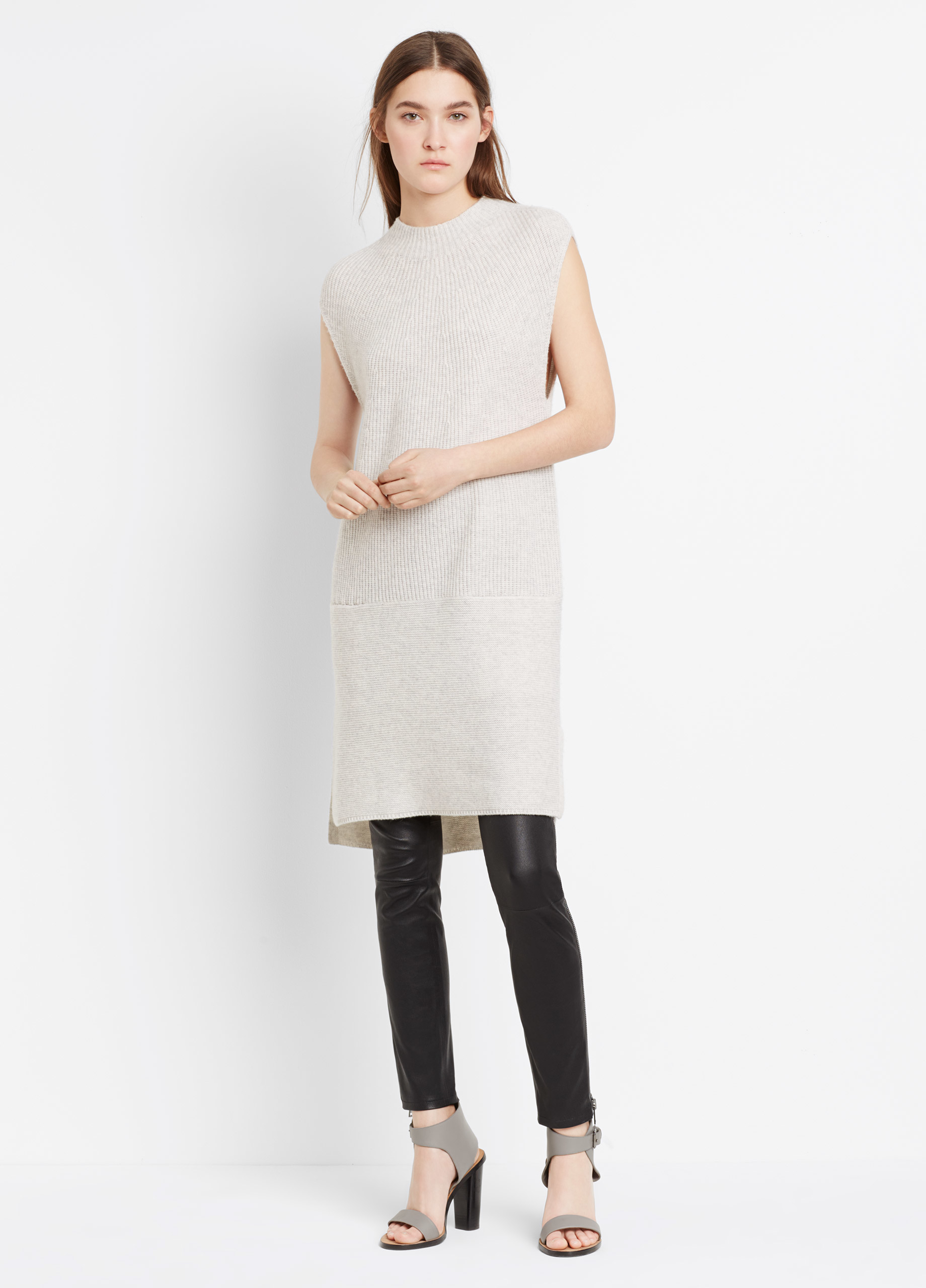 Vince Wool Cashmere Directional Rib Sweater Dress in Gray | Lyst