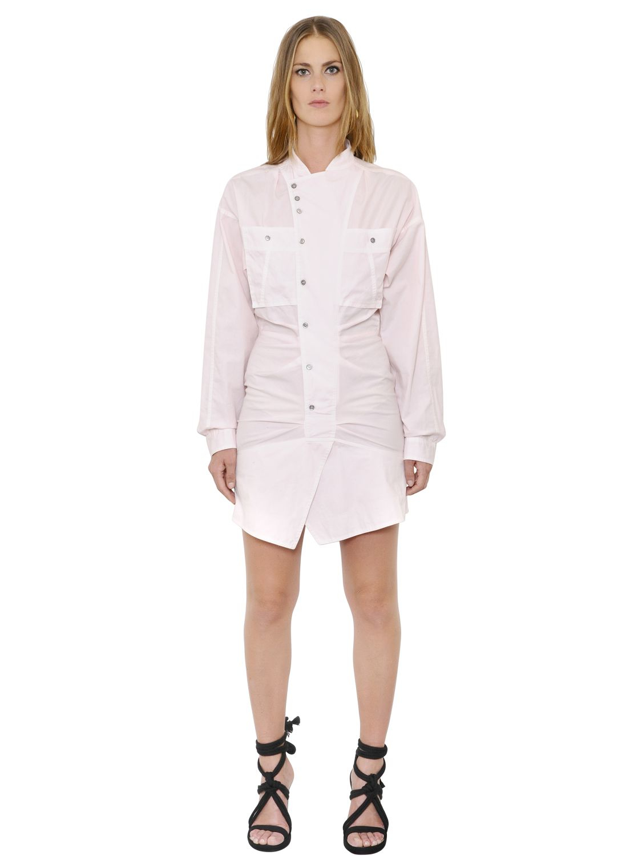 Isabel marant ruffled cotton poplin shirt dress in pink for Isabel marant shirt dress
