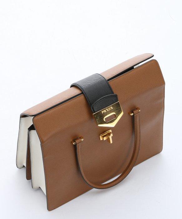 Prada Caramel And White Saffiano Leather Structured Top Handle Bag ... - prada double bag caramel/marble gray