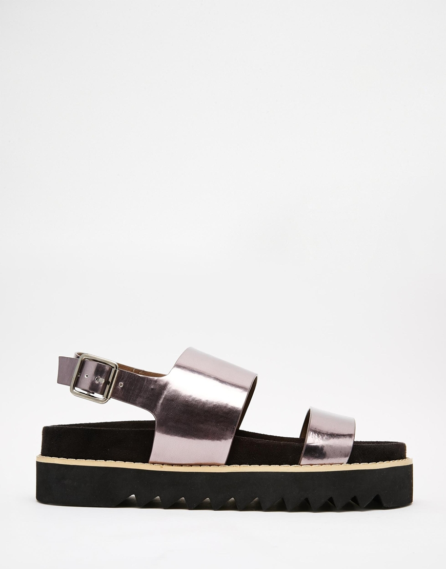 ASOS Fable Flatform Sandals in Pewter