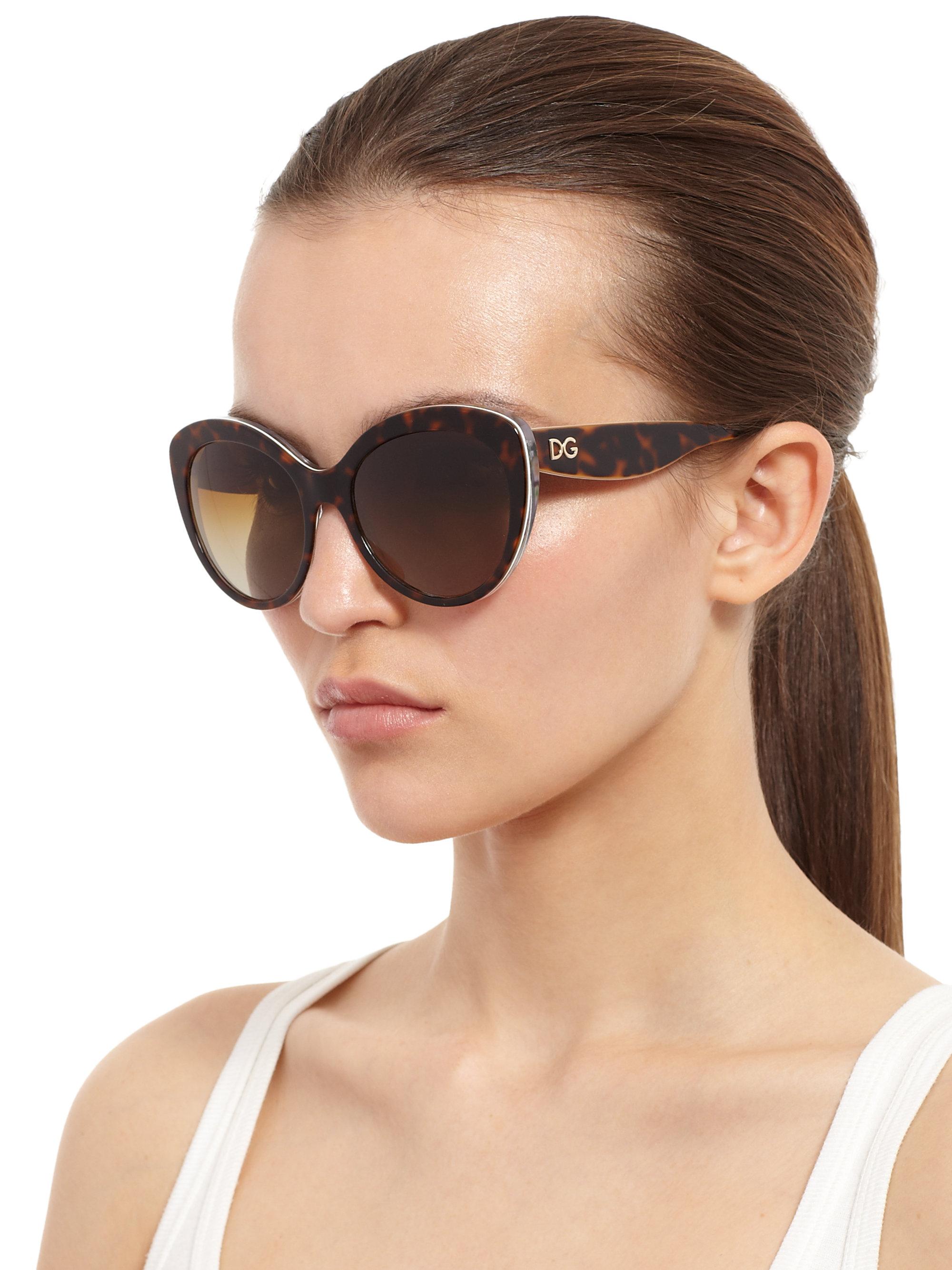 1d4d064833a5 Dolce & Gabbana Multi-Print Cat'S-Eye Sunglasses in Black - Lyst