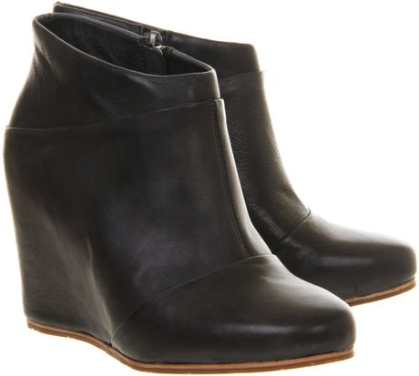 ugg carmine leather wedge ankle boots in black lyst