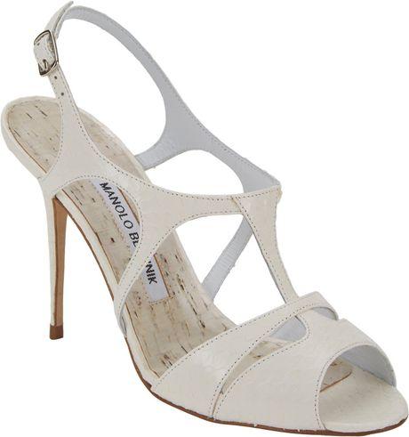 Manolo Blahnik Worty Cutout T-Strap Sandals in White | Lyst