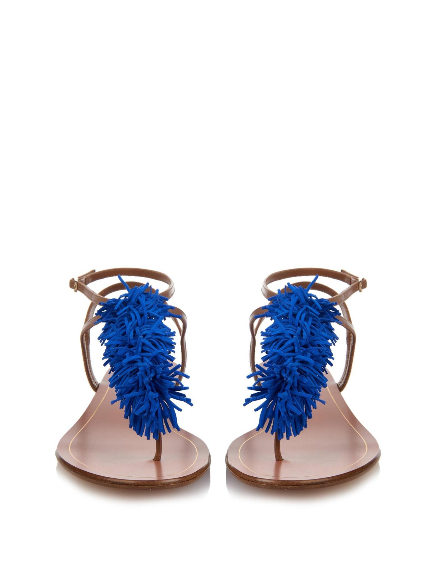 Aquazzura Thing Blue Front Wild Sandals Tassel 4Rj3Aqc5L