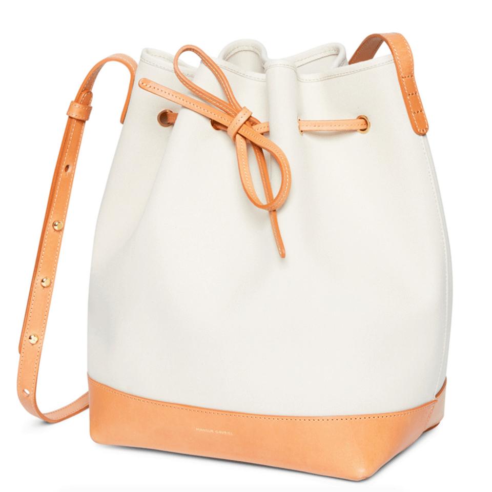 lyst mansur gavriel canvas bucket bag in white. Black Bedroom Furniture Sets. Home Design Ideas