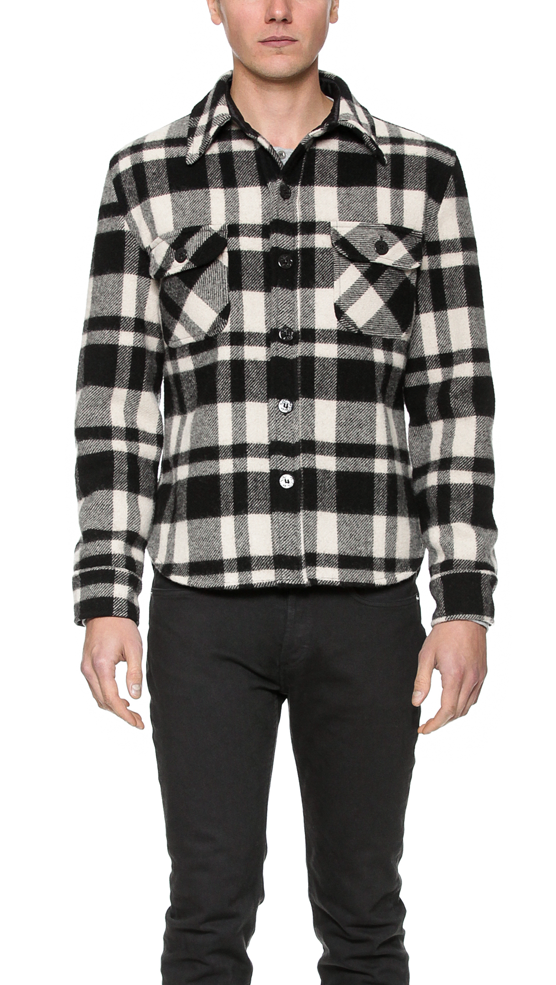 Gerald stewart plaid cpo jacket in black for men lyst for Fidelity cpo shirt jacket