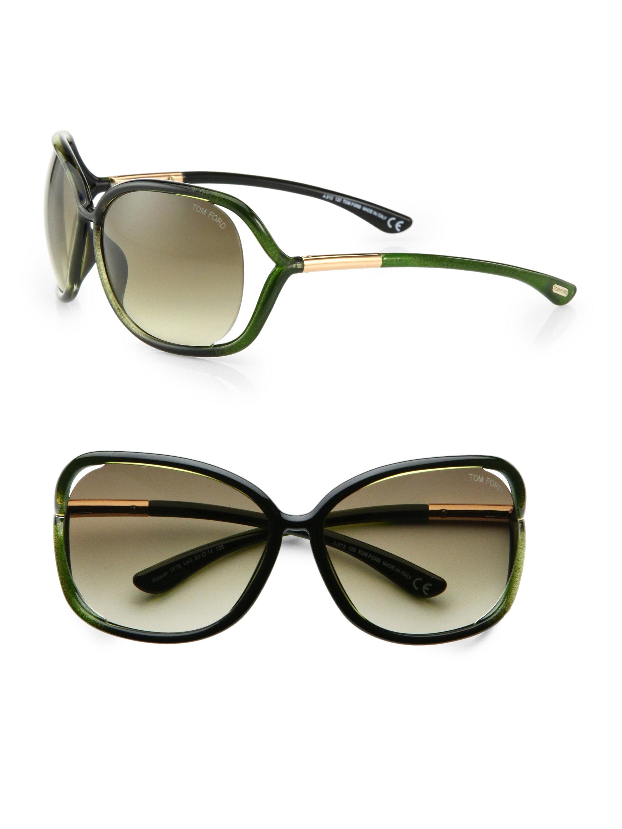 9f19470f5f96 Lyst - Tom Ford Raquel 68Mm Oval Sunglasses in Green