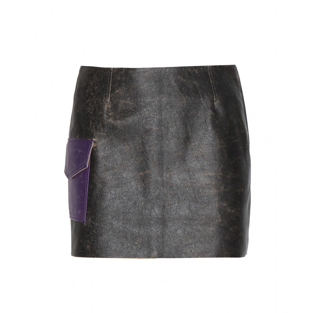 acne studios sterling distressed leather skirt in black lyst