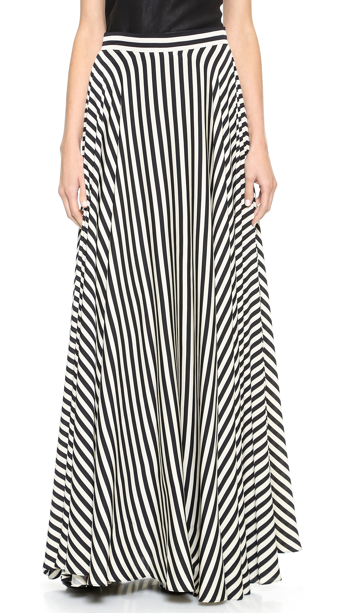 milly striped maxi skirt black white in black lyst