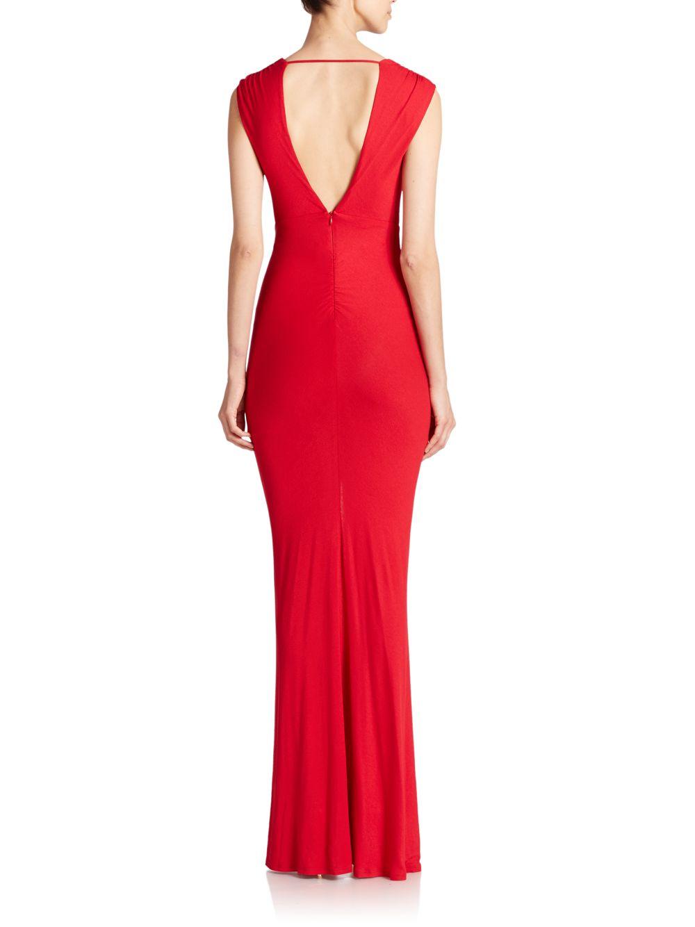 Lyst - Abs By Allen Schwartz Shirred Deep-v Gown in Red