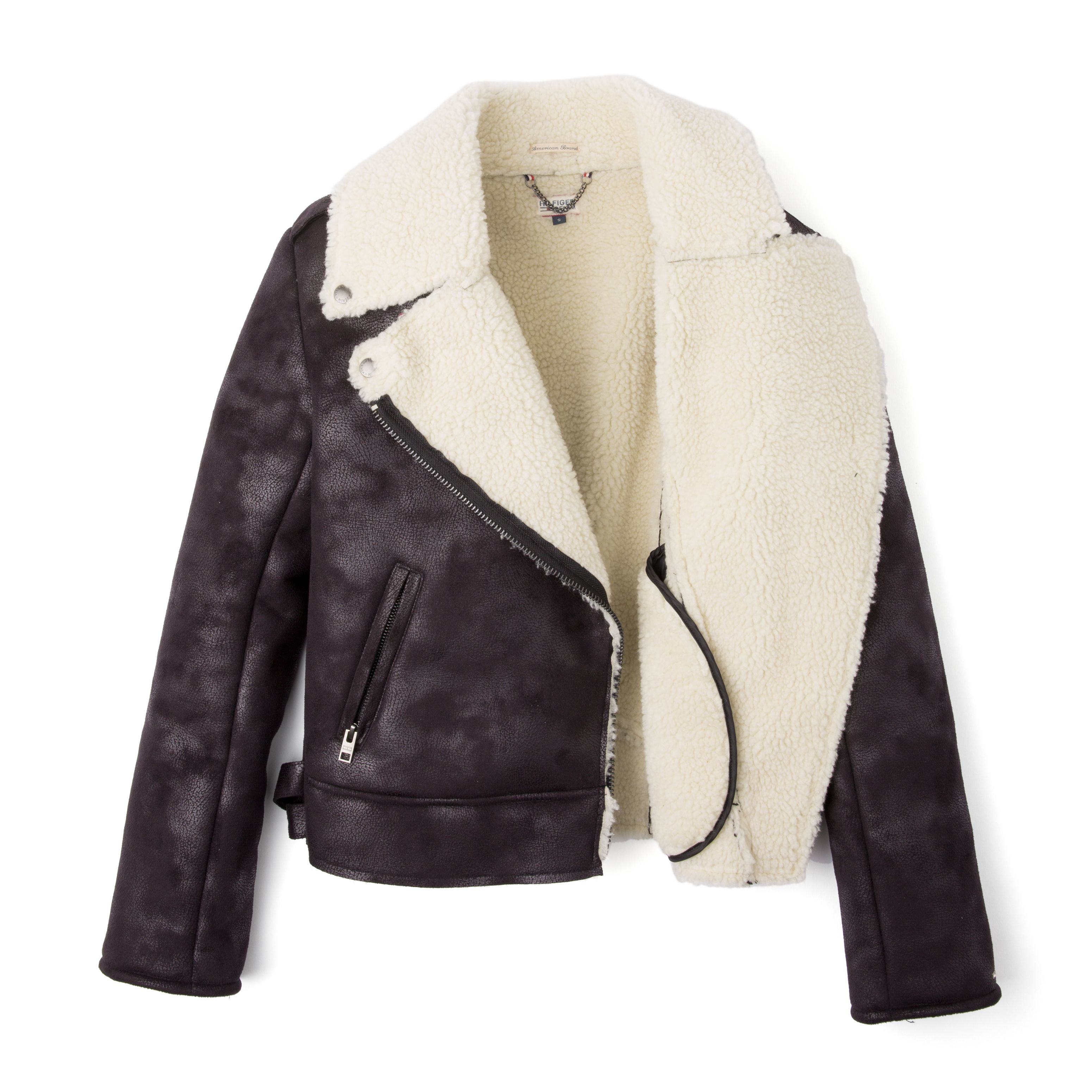 Tommy hilfiger Ginny Fake Shearling Biker in Black | Lyst