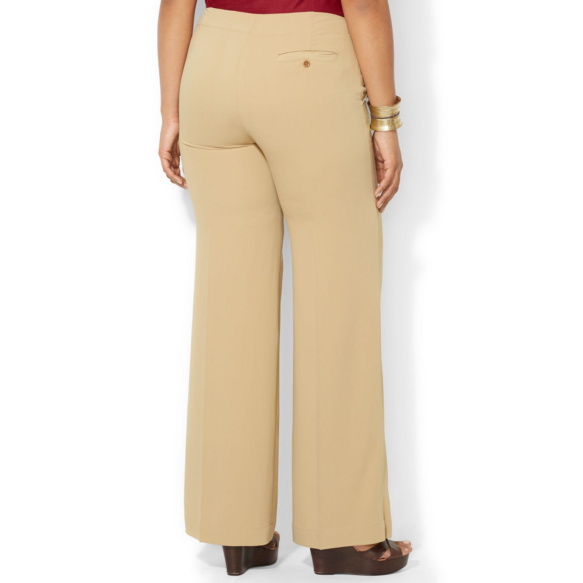 plus size wide leg khaki pants - Pi Pants