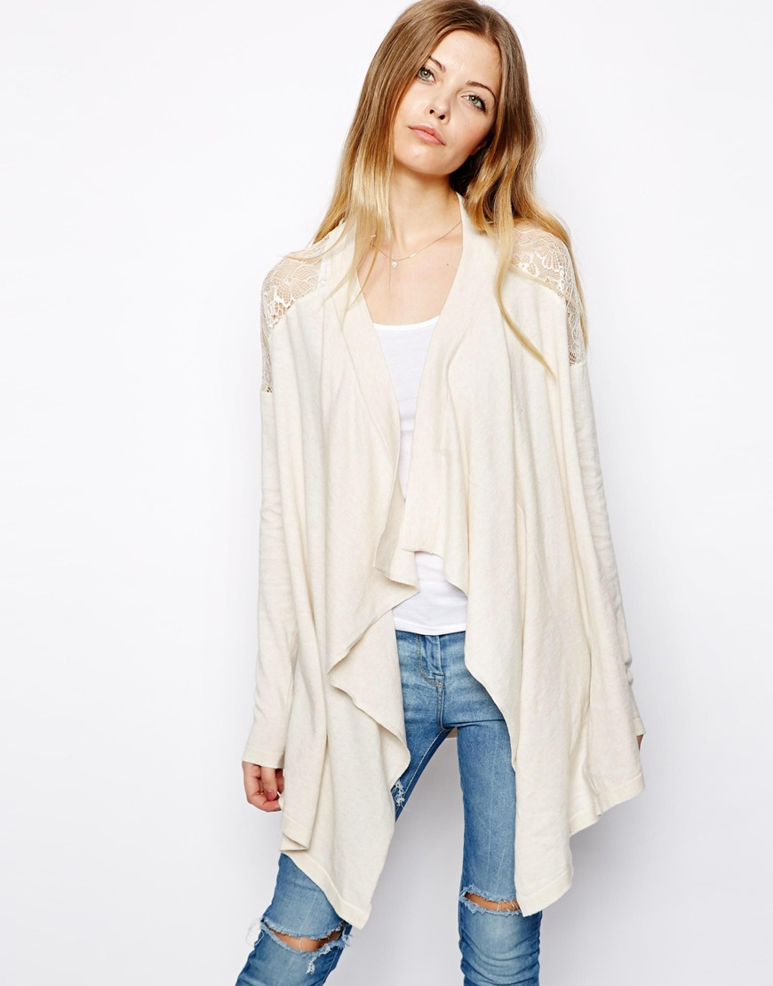 Asos Waterfall Cardigan With Lace Shoulder Detail in Natural | Lyst