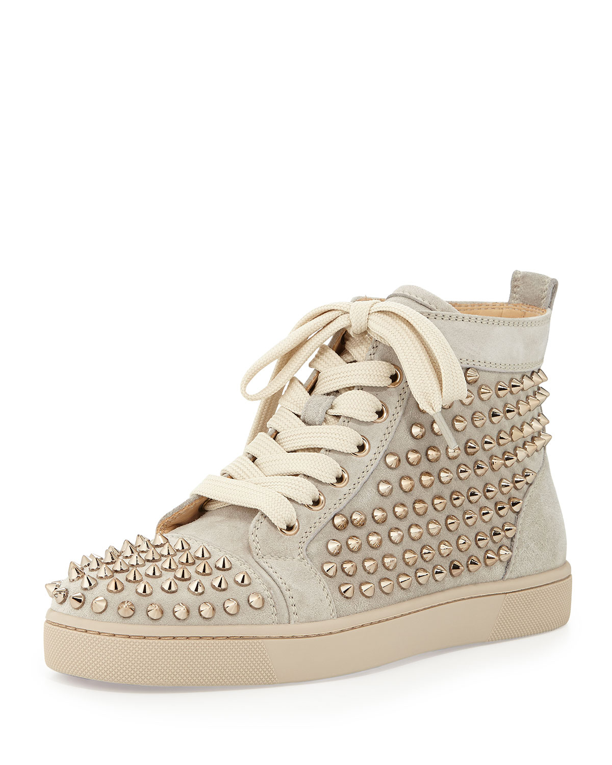 big sale 599ca 1263e Christian Louboutin Louis Spiked Suede Sneaker in Natural - Lyst