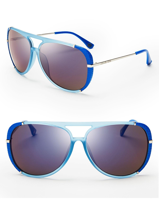 1b36e12bdd Lyst - Michael Kors Julia Aviator Sunglasses in Blue