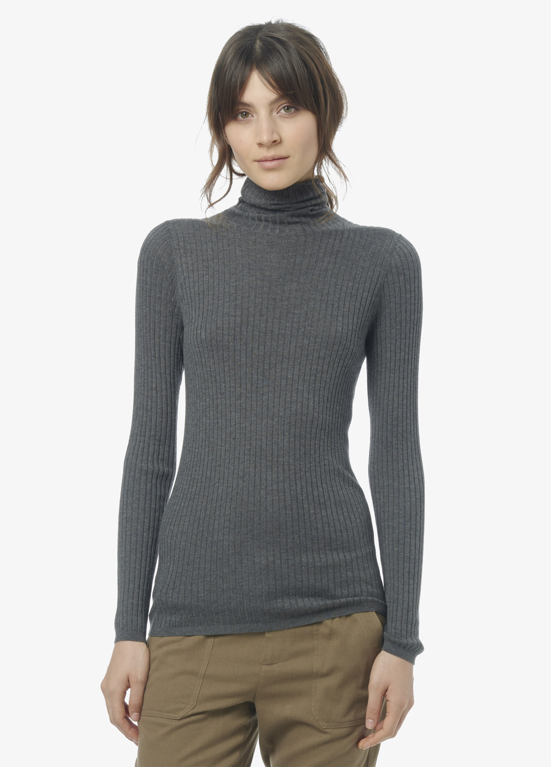 bbf72336e3 Vince Skinny Rib Turtleneck Sweater in Gray - Lyst